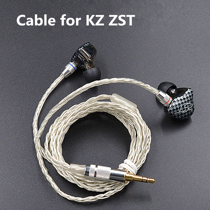 Newest KZ ZST ED12 <font><b>Cable</b></font> <font><b>2pin</b></font> 0.75 mm Upgraded Silver Plated <font><b>Cable</b></font> Earphone Upgrade <font><b>Cable</b></font> for KZ earphone KZ ZST ED12 image