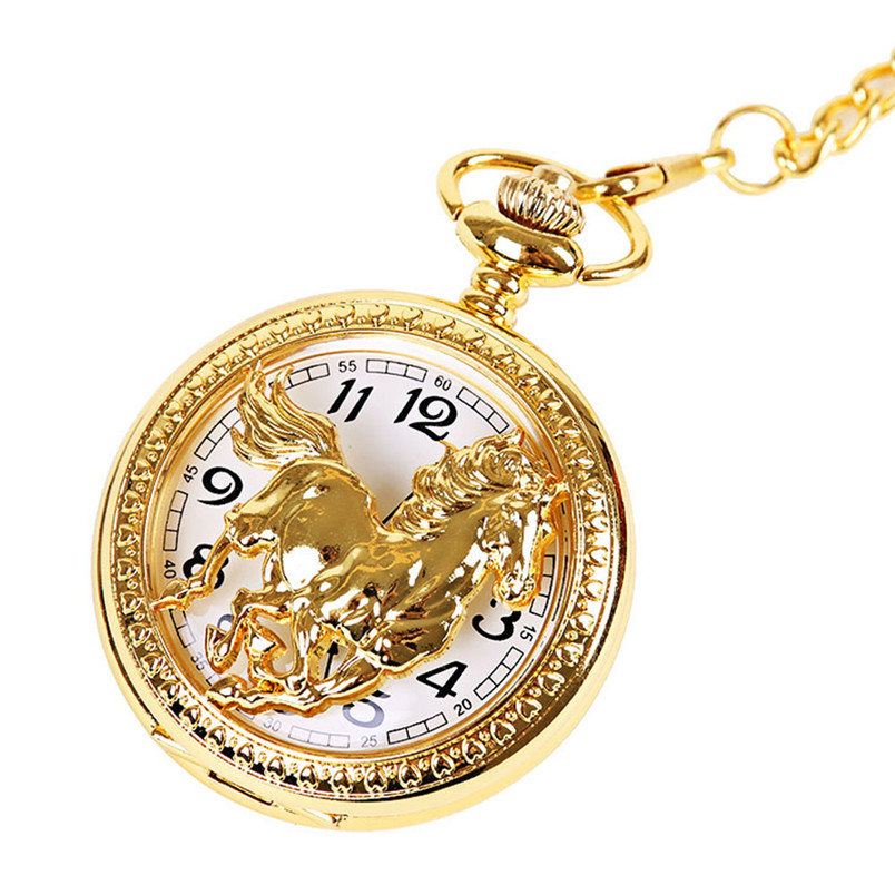 OTOKY Pocket Watch Men Gold Horse Quartz Watch Vintage Chain Retro Pocket Watch With Necklace Gifts m10 drop ship big g quartz pocket watch lot with metal pocket necklace leather chain box bag p446ckwb