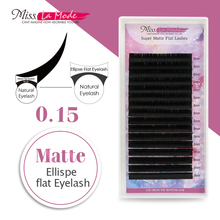 Miss La Mode 0.15 C/D 10pcs/lot matte Flat lashes ellipse root eyelash  fit Matte eyelashes extension