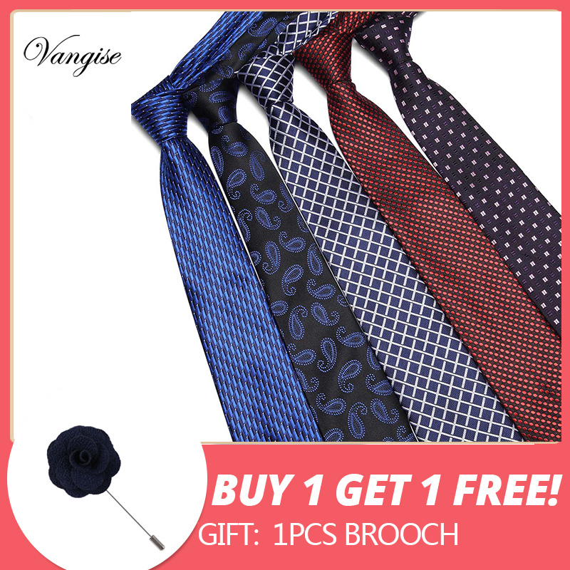 Free Shipping 35Styles Mens Tie Set 2019 Jacquard Silk Ties Fashion Floral Ties For Men 7.5cm Corbatas By One Tie Get One Pin