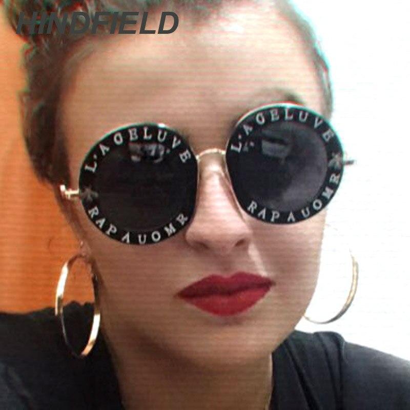 Rétro Ronde lunettes de Soleil Femmes Marque Designer Anglais Lettres Abeille En Métal Cadre Cercle Soleil Lunettes Mode Femme Shades Oculos