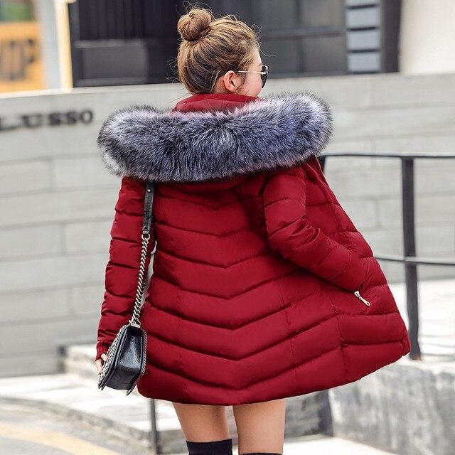 נשים חורף ומעילים 2019 מעיילים לנשים 4 צבעים צמר גפן להאריך ימים יותר חמים מעילים עם ברדס גדול פו פרווה צווארון