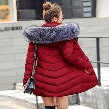 Chaquetas y abrigos de invierno para mujer 2019 Parkas para mujer 4 colores Wadded chaquetas abrigo cálido con una capucha grande imitación collar de piel