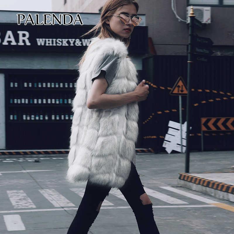 2018 nuevo chaleco de piel sintética de estilo largo a la moda sólido estilo streetstyle s-3xl tamaño