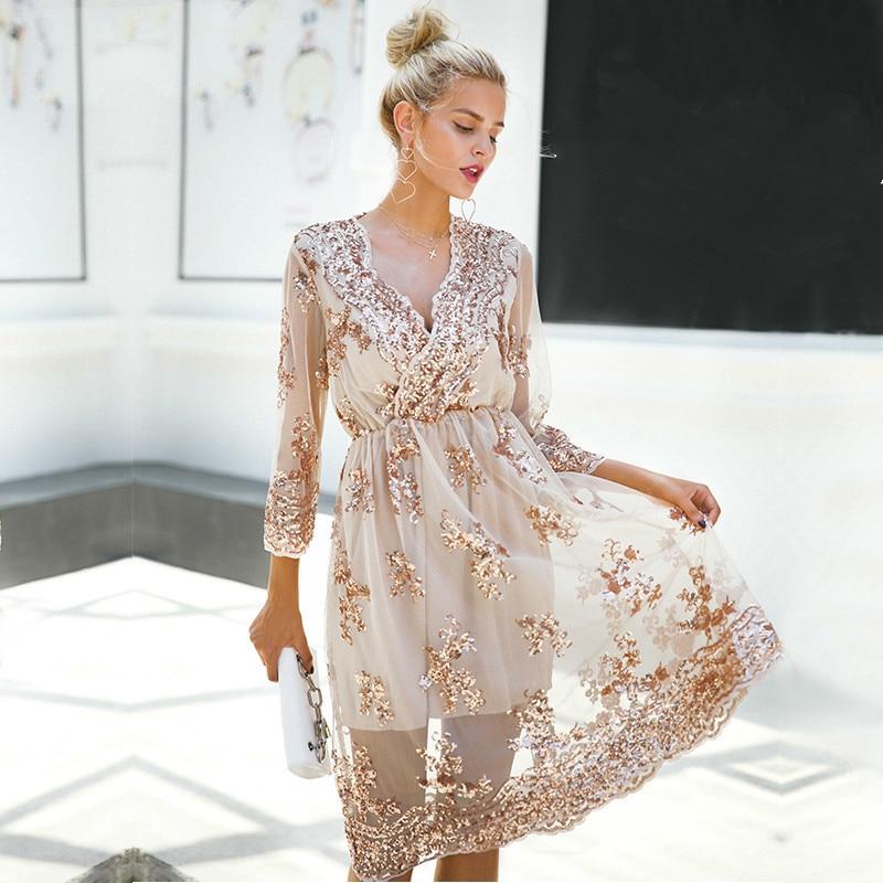 f5e34774dd Aliexpress.com : Buy Loneyshow V Neck Long Sleeve Sequin Party Dresses  Women Sexy Mesh Streetwear Midi Dress 2018 Summer Dress Vestido from  Reliable ...