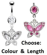Wholesale 2Colores Butterfly Dangle Ring Navel Belly Ring Belly Ring Body Piercing Jewelry nickel-free5pc/lot