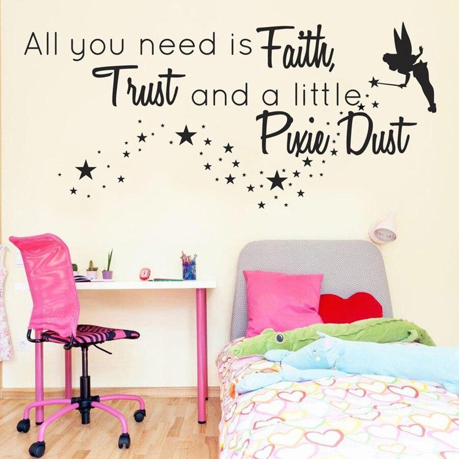 Fee Sterne Wand Aufkleber Motivation Zitat Vinyl Wand Aufkleber für Kinder Zimmer Glauben Decals Wandbild Prinzessin Raum Dekoration D972