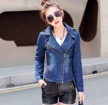 Hot 2019 Vintage Jeans Jackets For Women Denim Blazer Short Slim Blue Suit Coats Zipper Decoration Female Jacket Designs Blazers