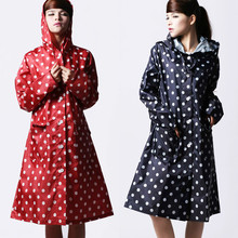 Poncho Waterproof Rain-Coat Long-Rainwear Cloak Outdoors Women Female Long-Dots