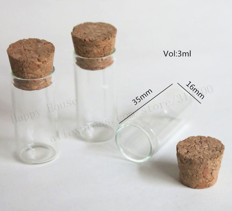 Купить с кэшбэком 100 x 3ml Mini Thin Glass Tube with Wood Cork  3cc Clear Sample Vials Cork Stoppered Tube More Sizes Available from 1ml to 300ml