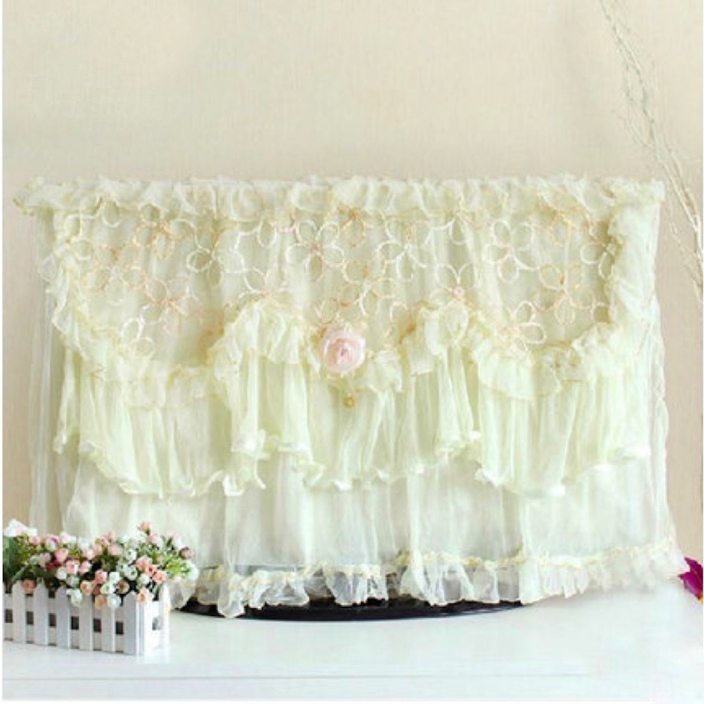 27-60 inch TVs dustproof cover Lace decorative hood Indoor curtain decor for flat screen ...