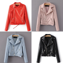 4 Colors Red Black Blue Pink Leather Jacket Women Cropped Leather Biker Jacket Winter Motorcycle Padded Coat With Belt