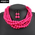 Braided Multi-Stand Bead Necklace Round Acrylic Beads Women Statement Fashion Choker Necklace Collier Party Jewelry 6950