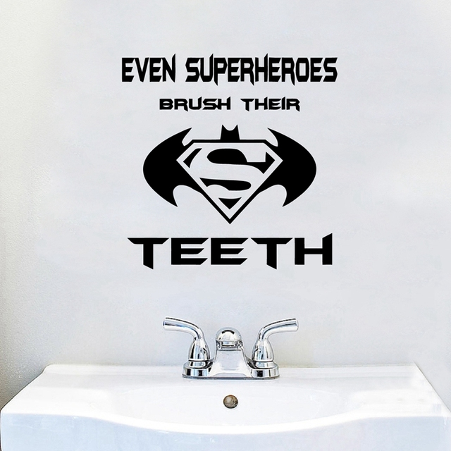 Even Superheros Brush Their Teeth Quote Wall Decal Vinyl Art