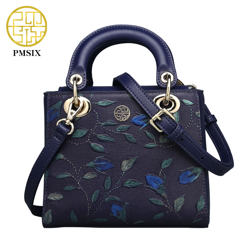 Pmsix 2017 New Fashion Genuine Leather Shoulder Bag Mini Embossing Ladies Real Leather Handbags Designer Crossbody P110007 qiaobao 100% genuine leather handbags new network of red explosion ladle ladies bag fashion trend ladies bag