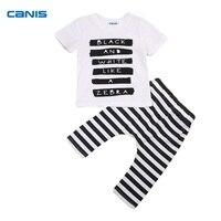 CANIS 2PCS Cute Set Newborn Baby Boy Zebra Letter T-shirt Tops+ Striped Pants Outfits Toddler Cotton Clothes 0-24M
