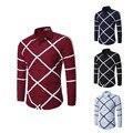 2017 весной новый бренд мужской рубашки вскользь Тонкий Плед печати рубашку с длинными рукавами большой размер рубашка XXXL