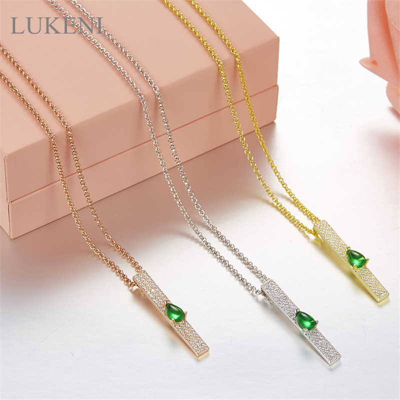 LUKENI New Design Personality Fashion S925 Sterling Silver Inlay Zircon Geometric Push-Pull Necklaces For Women Sweater Chain