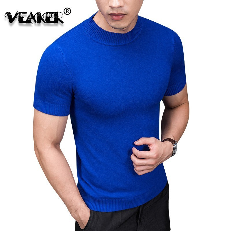 Brand Summer Fashion Mens Sweaters Tshirt Slim Solid Color O Collar Knitting Half Short Sleeve T-shirt Knitted Male Pullover 4XL