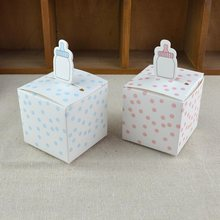 candy box bag chocolate paper gift package for Birthday Wedding Party favor Decor supplies DIY dots/pink/blue/nursing bottle Wh(China)