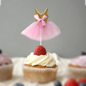 Image 5 - 5Pcs Bling Bling Ballerina Rock Tutus Kleid Kuchen Topper Party Cupcake Fahnen Kuchen Dekoration Obst Picks Für Thema Event a3