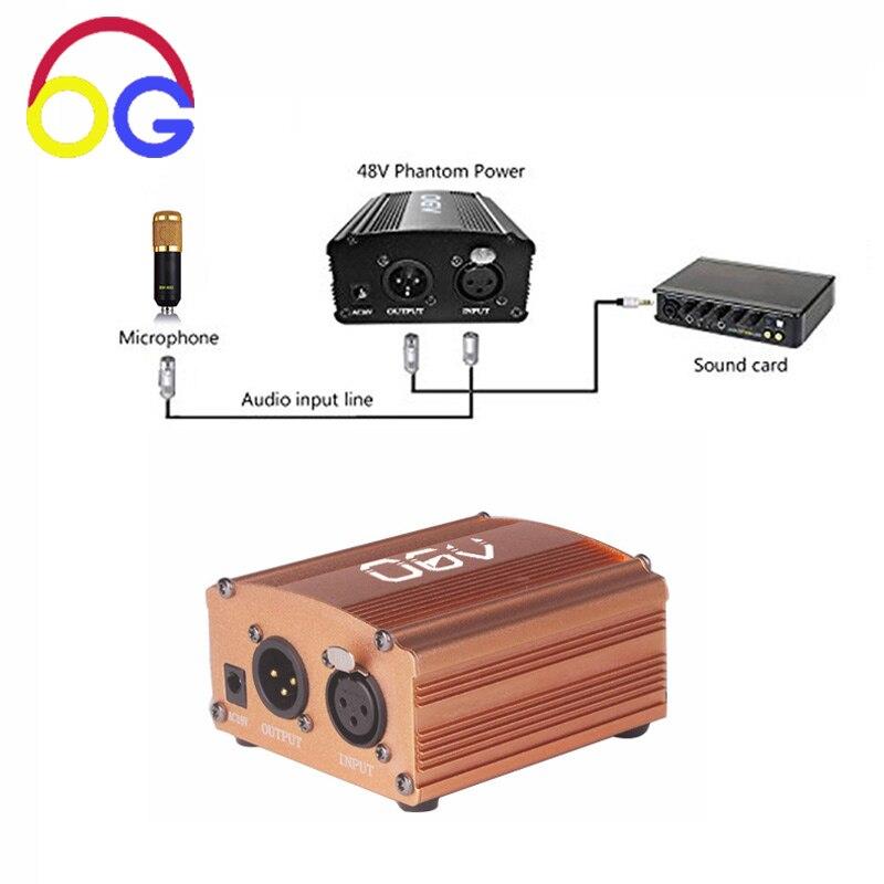 OGV Kanal 48 V Phantom Power Versorgung Schwarz Adapter Ein XLR Audio Kabel für Kondensator BM-800 Mikrofon Musik Aufnahme Ausrüstung