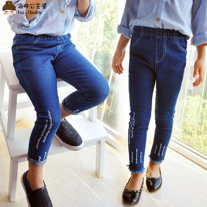Herfst Nieuwe Meisjes Jeans Borduren Baby Lente Stretch Jeans Regelmatige Solid Jeans Meisjes 2-8 Jaar Meisjes Ripped Jeans