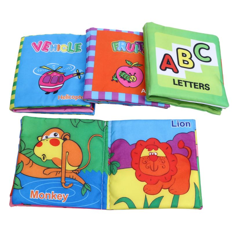 4PCS/Set Soft Cloth Books Rustle Sound Cartoon Animals Printed Kid Learning Education Reading Book Educational Toy for Children