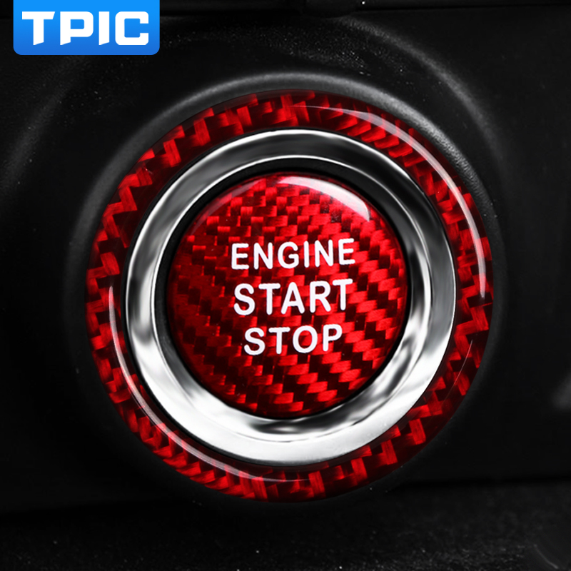 Carbon Fiber Car Engine Start Stop button Ignition For Mercedes Benz C Class 17