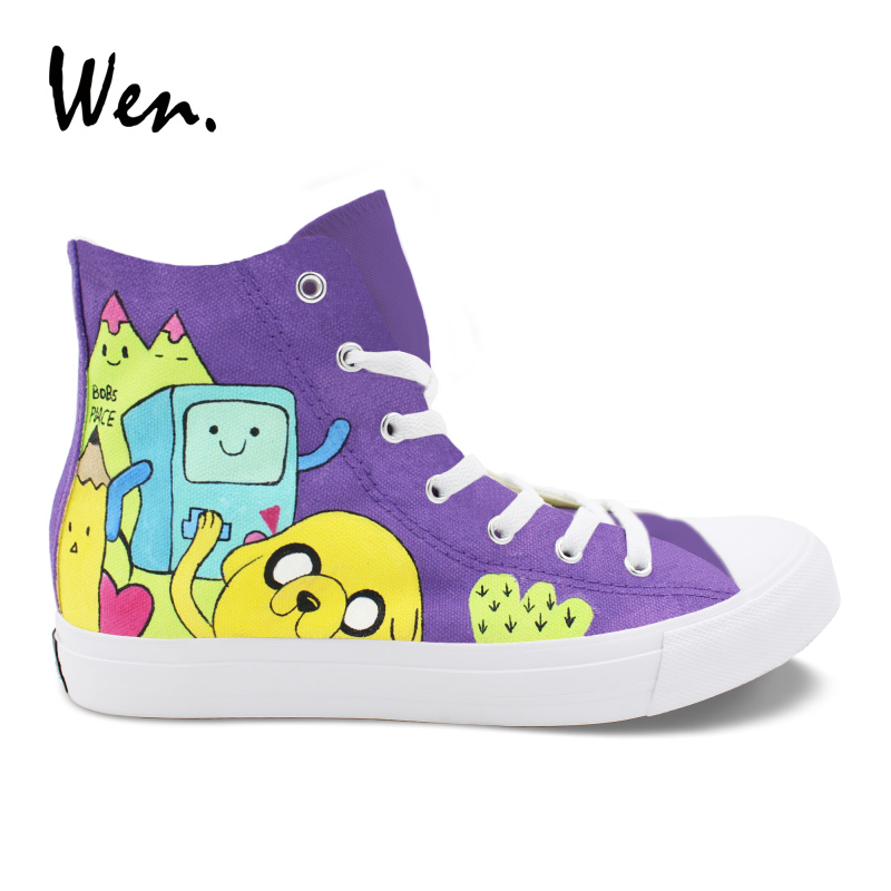 Wen Design Custom Cartoon Animation Hand Painted High Top Shoes Adventure Time Canvas Shoes Girl Purple Boy Casual Sneakers