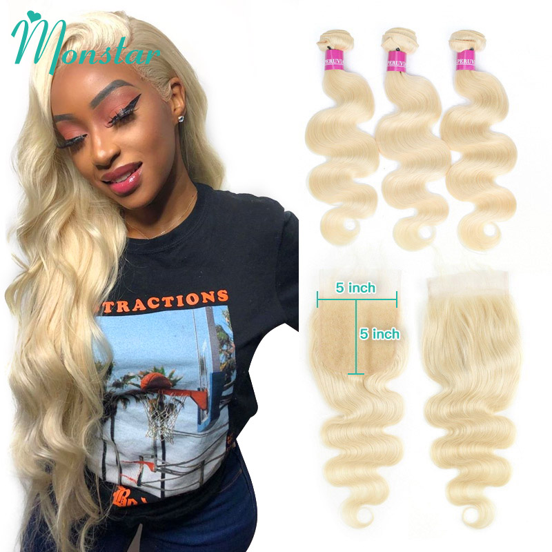 Monstar Human Hair Bundles with 5x5 Closure Brazilian Hair Weave Lace Closure with 2 3 4
