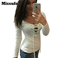 Blusas 2016 Spring Summer Long Sleeve Lace Up Tops 5 Colors Bottoming Shirt Ladies Fashion Casual Slim Bandage Women Tops