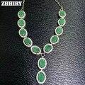 Природный Изумруд Ожерелье Подлинной Стерлингового Серебра 925 Драгоценный Камень Изящных Ювелирных Изделий Royal Мая Камень