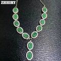 Natural Emerald Necklace Genuine 925 Sterling Silver Precious Stone Fine Jewelry Royal May Birthstone