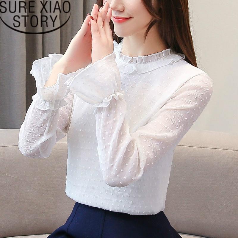 587cb1d6181 Blusas mujer de moda 2019 белая шифоновая блузка с длинным рукавом для женщин  рубашки для мальчиков