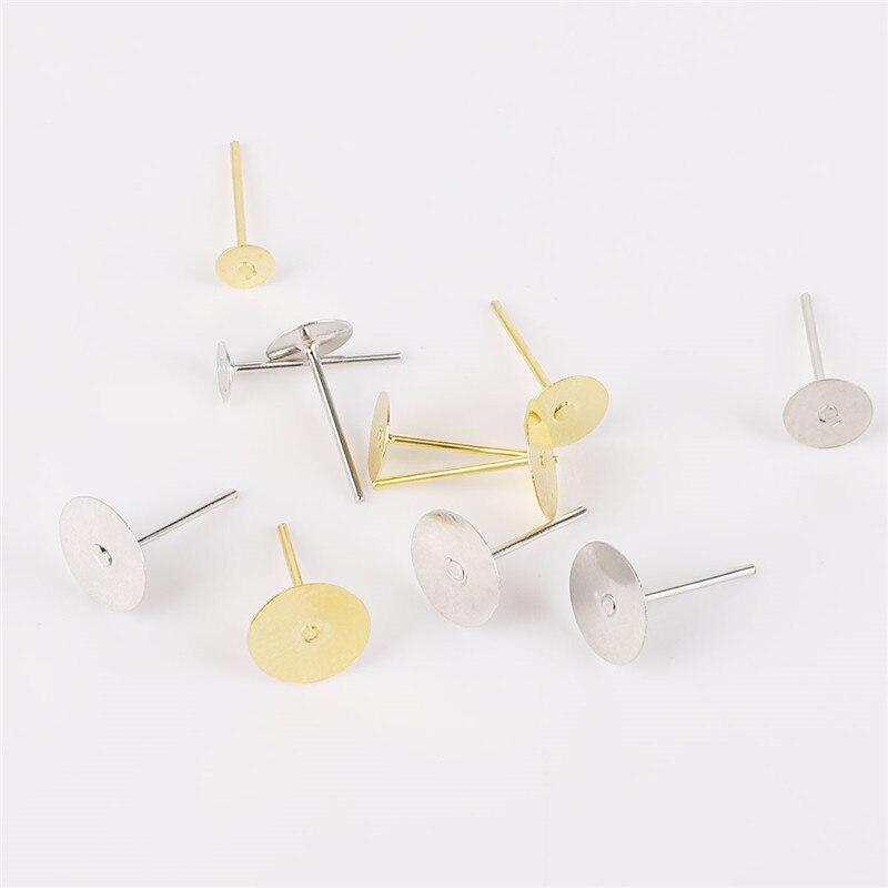 500pcslot Metal Iron Earring Stud Base Fit 4 6 8mm Gold Earring Post Flat Base Pins Settings DIY Jewelry Making