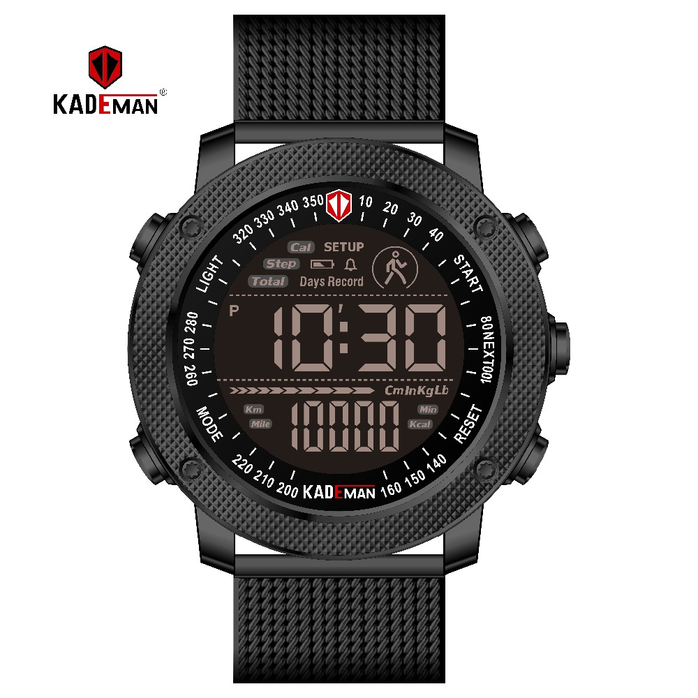 KADEMAN Digital Men Watch Montre Military Sports Step Count Watches Men Luxury Brand Leather Waterproof Male Wristwatches Reloj