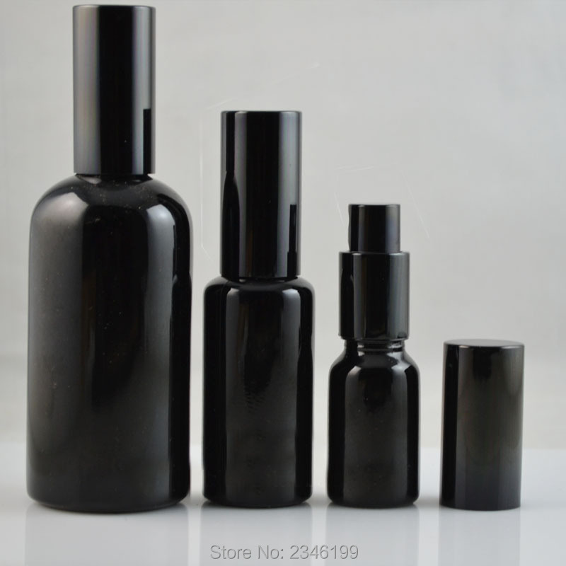 10ML 15ML 30ML 50ML 100ML Empty Glass Perfume Spray Bottle DIY Elegant Black Glass Lotion Pump