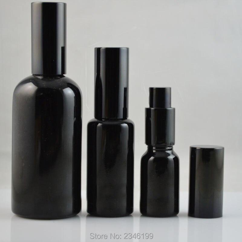 10ML 15ML 30ML 50ML 100ML Empty Glass Perfume Spray Bottle, DIY Elegant Black Glass Lotion Pump Bottle, Empty Emulsion Container three 100ml