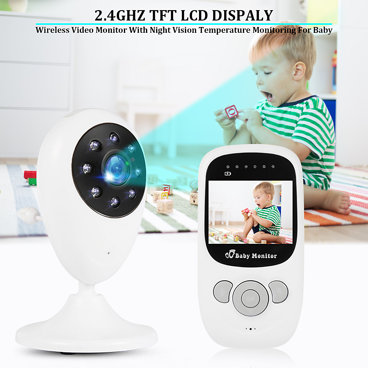 Wireless LCD Audio Video Baby Monitor Radio Nanny Music Intercom IR 24h Portable Baby Camera Wifi Baby Walkie Talkie Babysitter 2pcs mini walkie talkie uhf interphone transceiver for kids use two way portable radio handled intercom free shipping