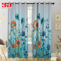 Colorful Floral Gradient Blue Curtains For Living Room Decor Kitchen Items Modern Country Style Door Curtain Window Single Panel