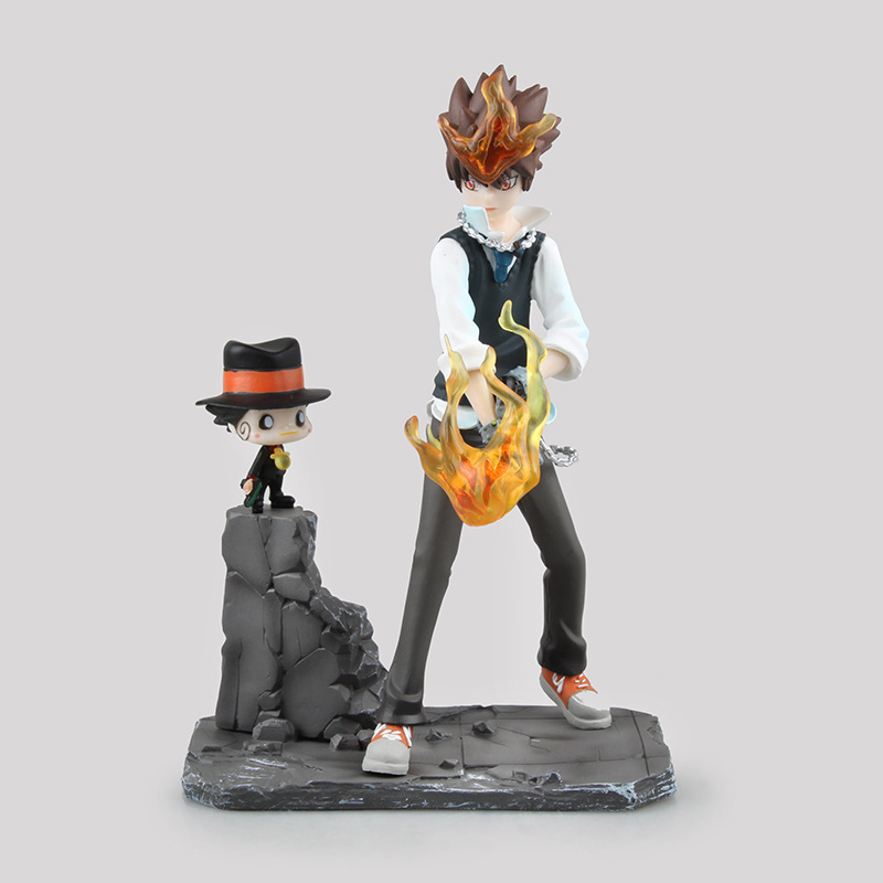 19CM HITMAN REBORN Action Figure PVC Statue Sawada Tsunayoshi Private Teacher Ver Model Toy Kid Gift with Box H474 image