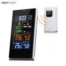 Protmex PT3389 беспроводной ЦВЕТ МЕТЕОСТАНЦИЯ, ЖК дисплей экран дисплей будильник с наружной/внутренней Температура Влажность