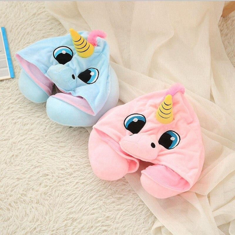 Cute Plush Unicorn Cartoon Animal U Shaped Hooded Travel Sleeping Pillow Stuffed Animal Doll Gift For Children Girls Christmas