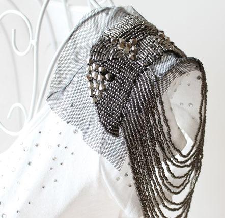 Retail & Wholesale 2pcs/pair Punk Cool Gunblack Bead Handmade Tassel Epaulet Badge Free Gift party decoration