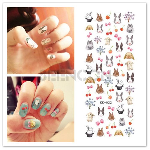 Japan Decal 1pcs 3d Self Adhesive Forest Rabbit Nail Art Stickers
