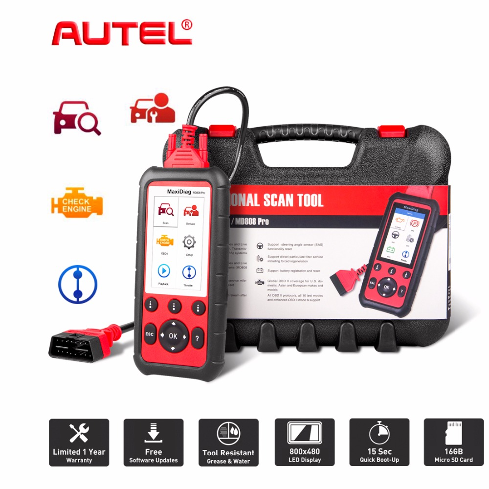 цена на Autel Maxidiag MD808 PRO ALL System OBD2 Code Scanner Better MaxiCheck Pro MD802 Diagnostic Tool Scanner MD808 PRO