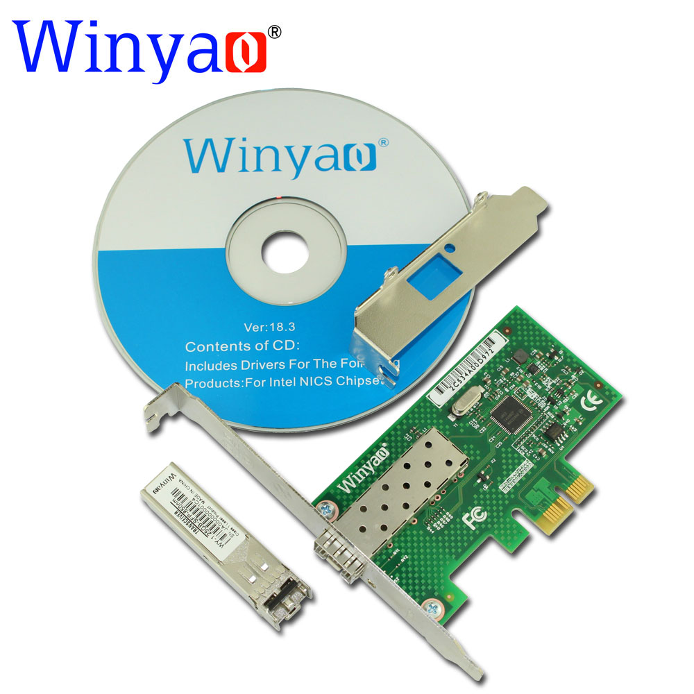 Winyao WYI210F PCI-Express X1 1000Mbps SFP LC (850nm)Gigabit Ethernet Lan Fiber Server network card For I210 Nic small motherboard computer cases server 1 rtl8111dl onboard nic gigabit lan wake on lan or wifi network