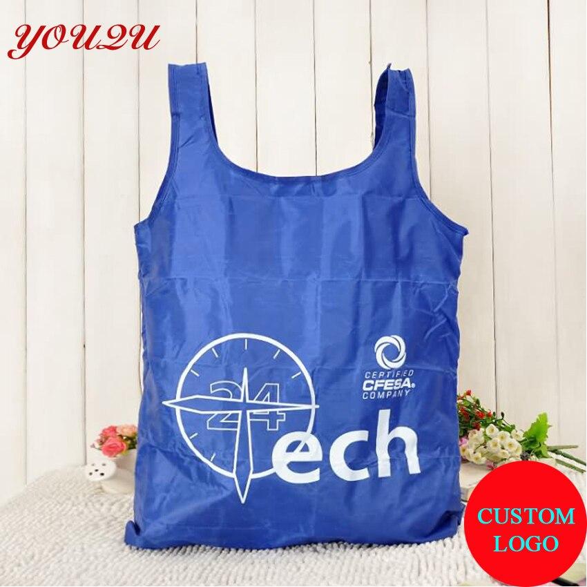 Складная синяя сумка для покупок, удобная для переноски с собственным логотипом