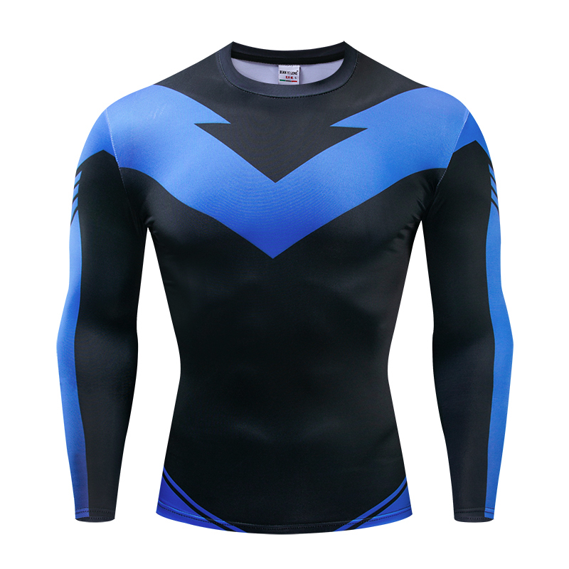 Long Sleeve Nightwing 3D Printed T Shirts Men Compression Shirts 2019 Character Comics Tops For Male Cosplay Costume Clothing